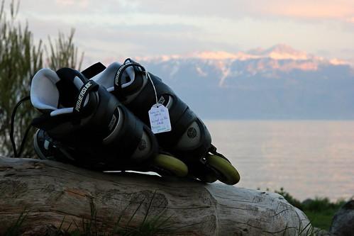 Rollers au bord du lac