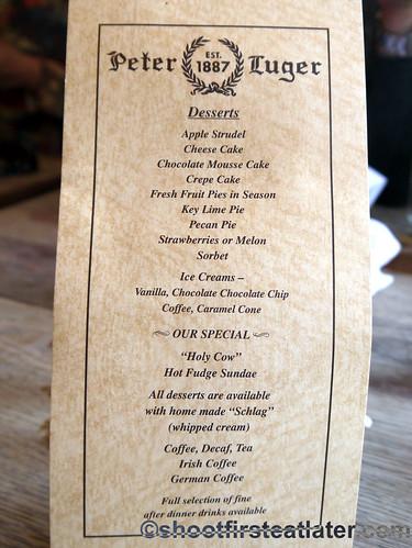 Peter Luger dessert menu