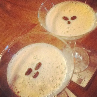 """Pearly Temple"" martinis at Peggy's--espresso + booze = movie-watching fuel."
