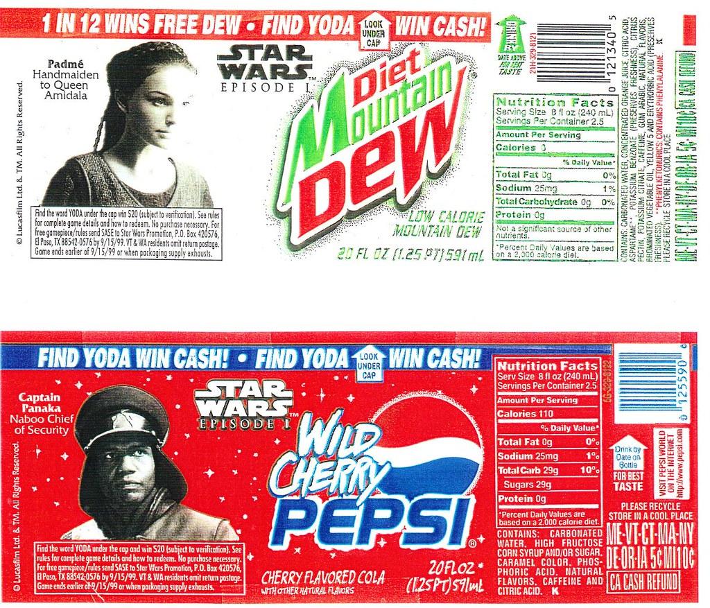 Diet Mt Dew and Wild Cherry Pepsi