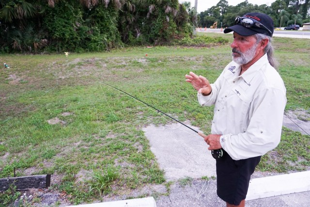 Capt. Rex Gudgel Gave Fly Casting Instructions during Women, Waders and Wine with SheFishes2 at West Wall Fly Shop, Port Charlotte, Fla., May 20, 2016