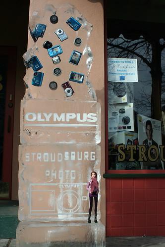 Poppy on the Stroudsburg Photo ice sculpture