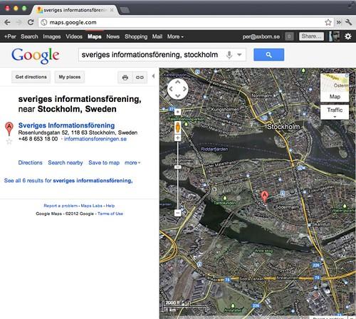 Sveriges informationsförening - Google Maps