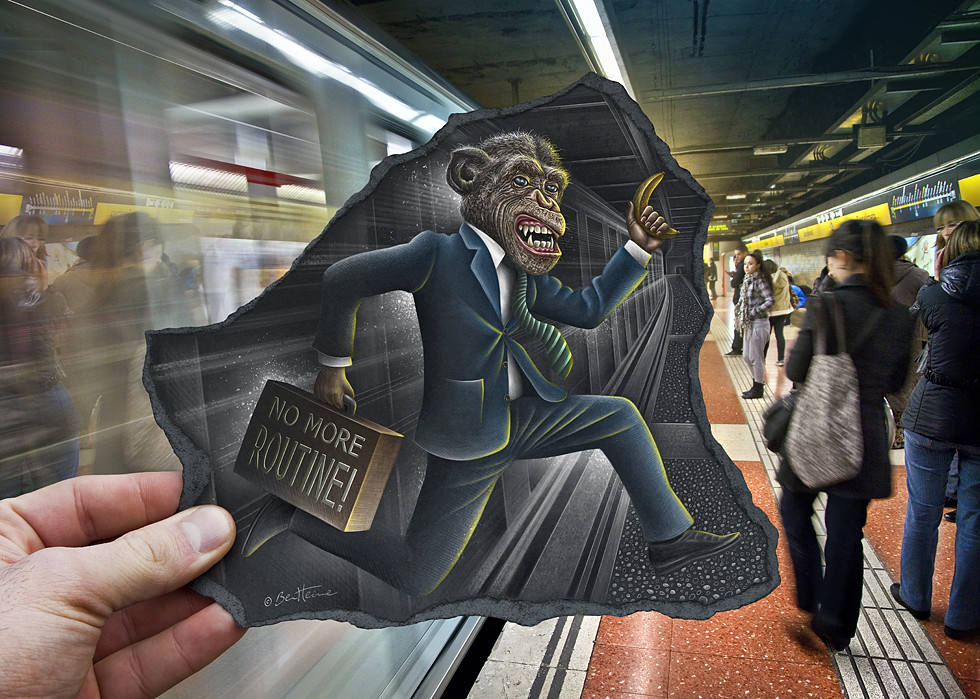 Image of a man holding a caricature of a well dressed monke on his way to work. The monkey hold's a suitcase that says, 'No more routine'