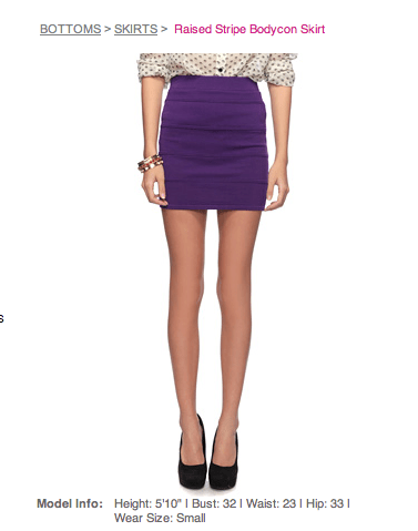 screen shot of Forever 21 page showing a model without kneecaps