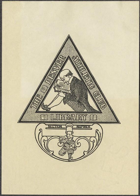 gravura bookplate divertir com livro de leitura homem sentado em um triângulo