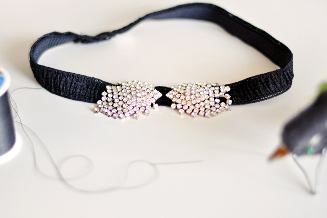 rhinestone head band DIY