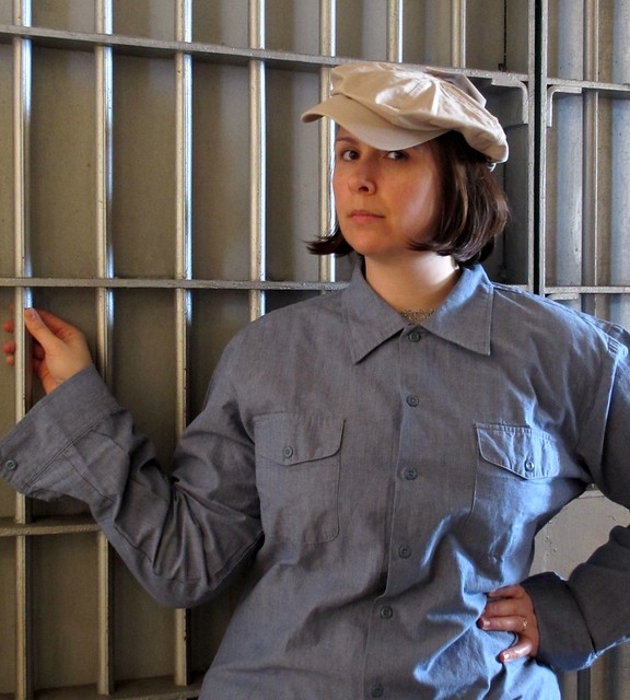 Prison chic? Modeling Alcatraz prison wear replicas. Photo by Pat.