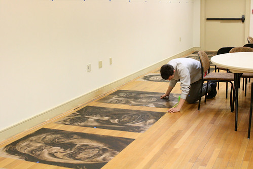 Installing the exhibition