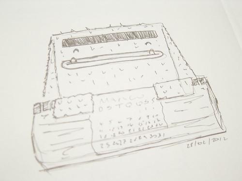 Esboço do Calendário com o Gigante Gentil, usando um design minimalista