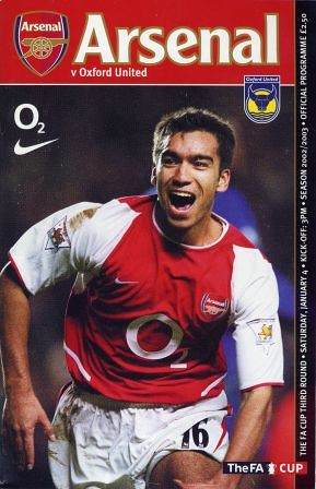 2003 FA CUP ROUND 3. ARSENAL v OXFORD UNITED (PROGRAMME)
