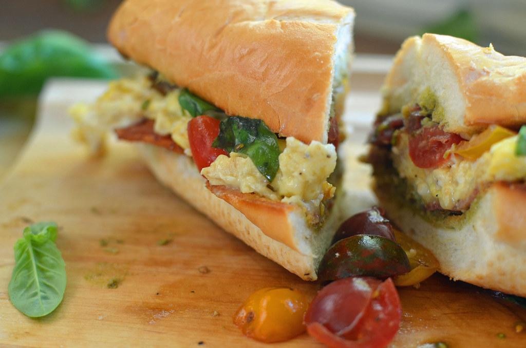 final sandwich on cutting board