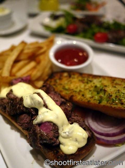 Ruth's Chris Sizzle, Swizzle & Swirl Happy Hour- Steak Sandwich with Fries