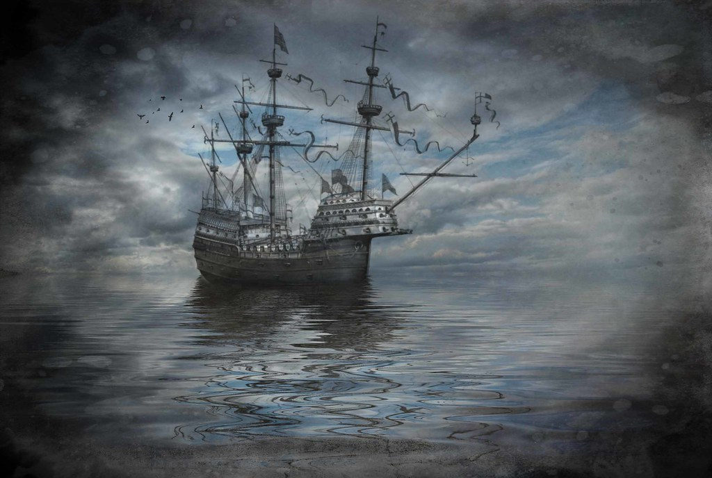 Digital Artwork showing a sailing ship on an almost flat calm sea with a cloudy background