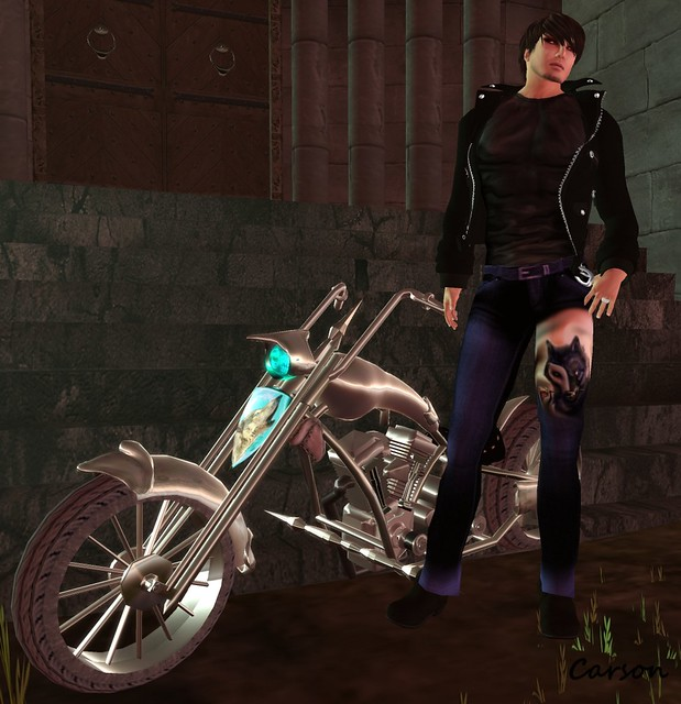 2KILL4 - Wolf Jacket & T Shirt, Top Katz - WIL Pants, Darkfold Designs - Silver Wolf Chopper, AKERUKA -Adrian Skin