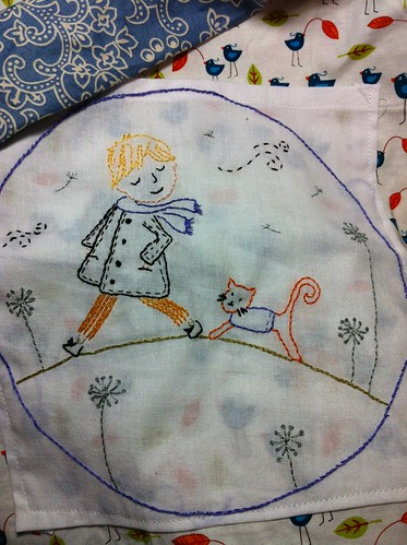 Boy and his cat - pattern by Tamar Yanai