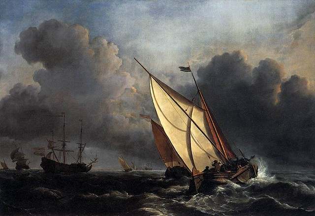 Willem van de Velde the Younger, Ships on a Stormy Sea, 1672.