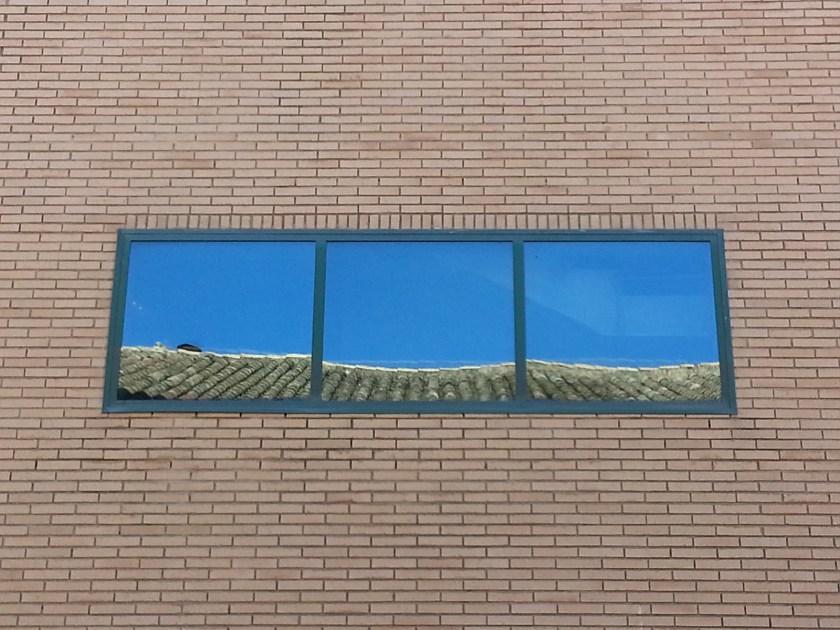 Yellow Brick Wall - window, reflections