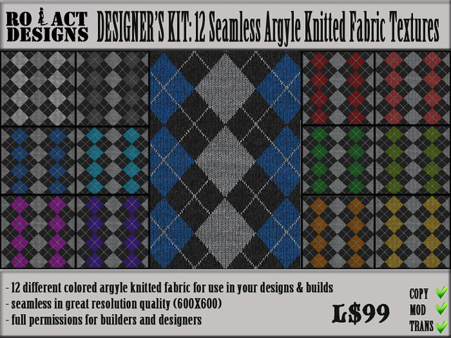 Argyle Knit Fabric Poster