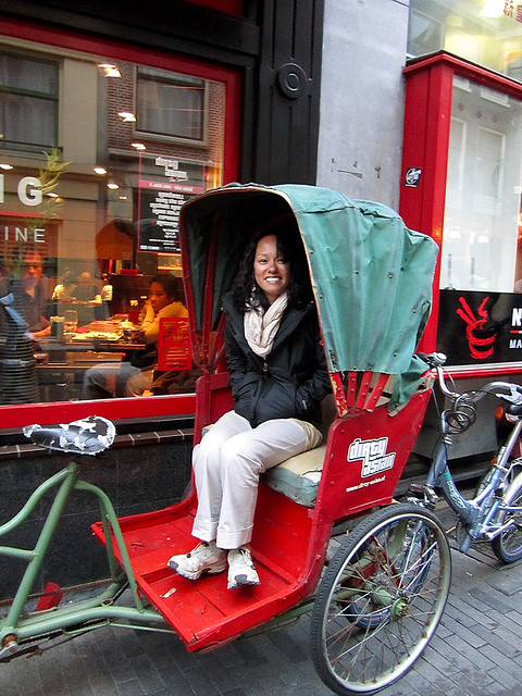 Heather in the Dirty Asian delivery cart.