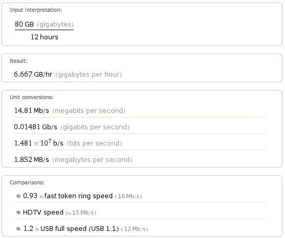 80GB in 12 hours - Wolfram|Alpha