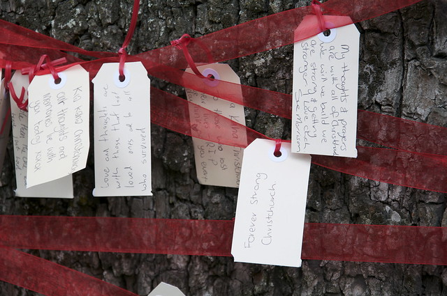 Tree of hope messages, Latimer Sq, Christchurch