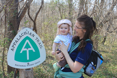 Manassas Gap Hike - Sagan and Mommy at AT Sign