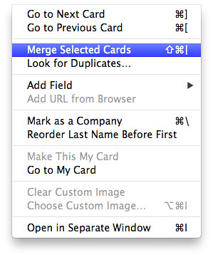 Merge Selected Contacts OS X AddressBook