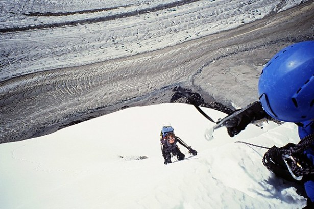 Climbing the snow slopes of Peak Gorky