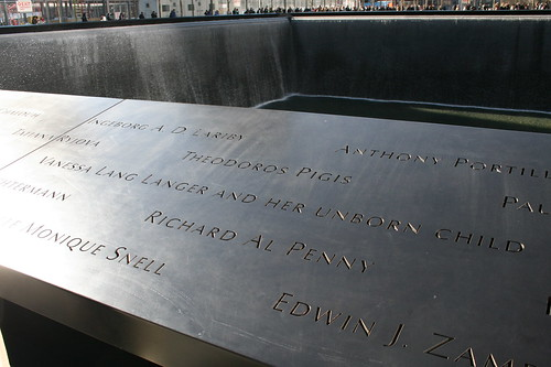 Names of victims in bronze
