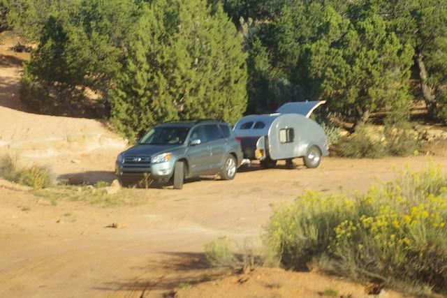 "Teardrop Camper at ""Overflow camping"" area for Natural Bridges National Monument, Utah, October 1, 2011"