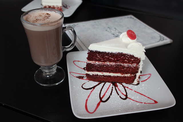 Hazlenut hot chocolate, and Red Velvet cake