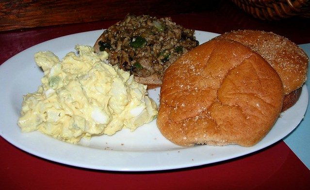 Mushroom Turkey Burger with Potato Salad