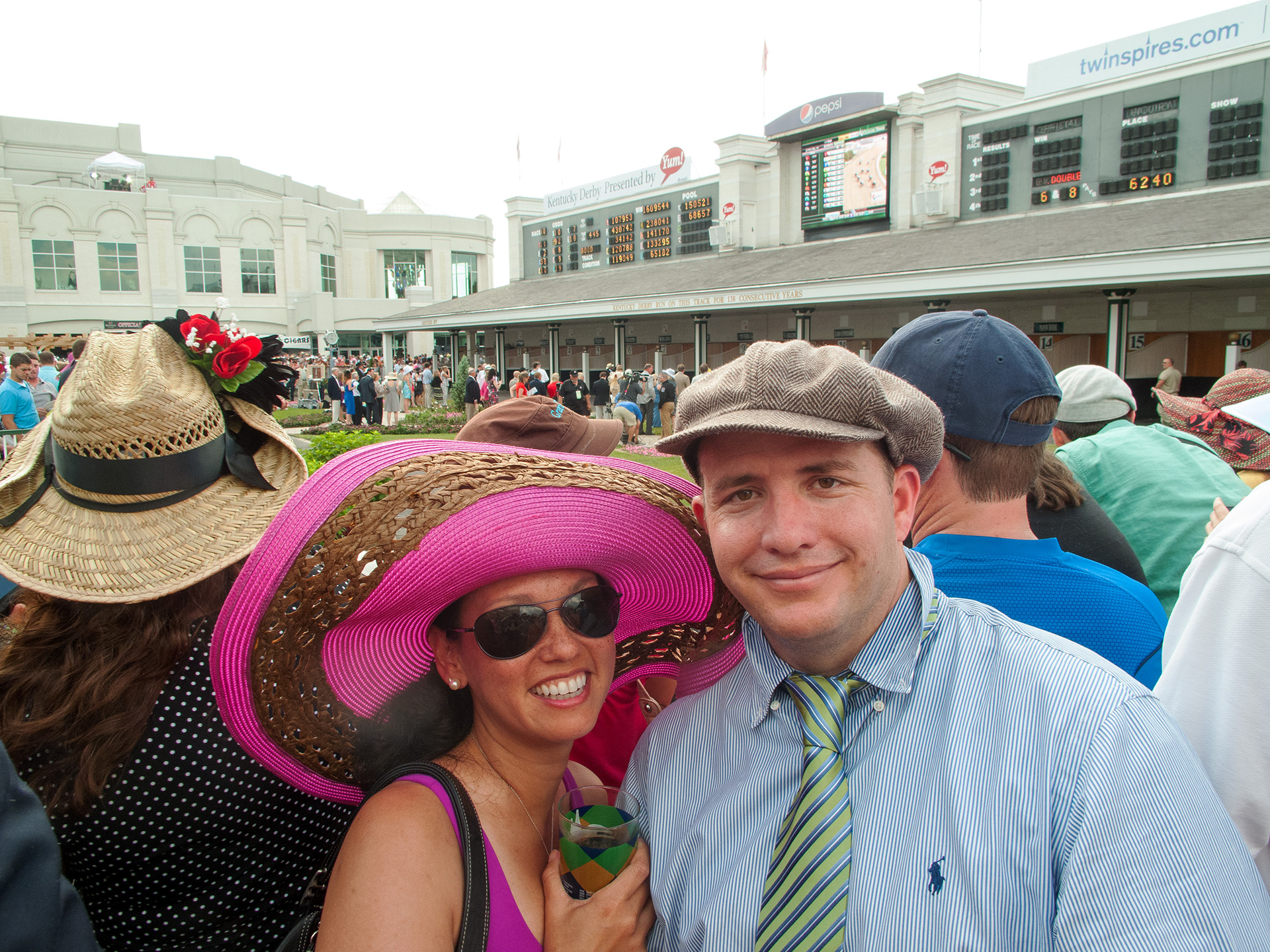 Heather and Matt at the paddock area at the Kentucky Derby.