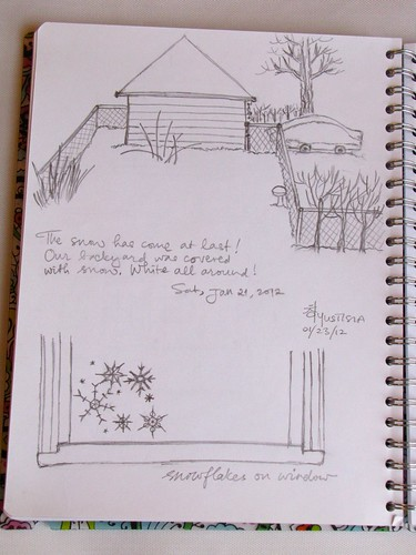 Drawing: Snow covered backyard