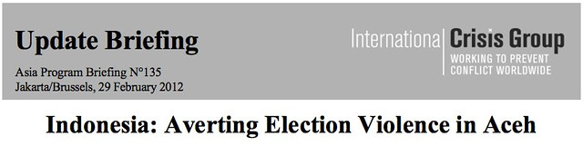 "ICG Report Header:  ""Indonesia:  Averting Election Violence in Aceh"""