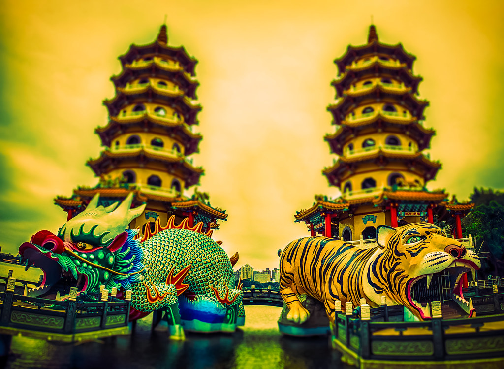 Dragon and Tiger Pagoda Diorama