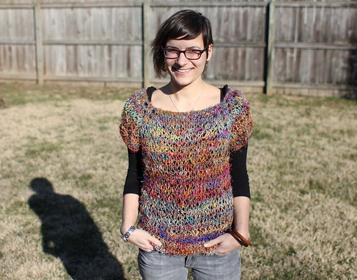 20120226. Improvised pullover with recycled silk sari yarn.