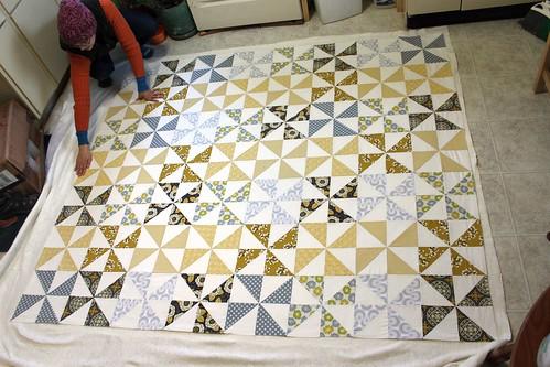 Yellow gray pinwheels in progress