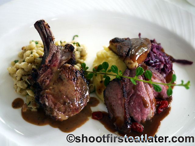 herbed roasted rack of lamb and roasted duck breast-001