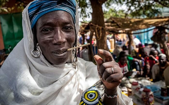 portrait of a tribal woman to the market of Gorom Gorom, region of the Sahel, northern Burkina Faso