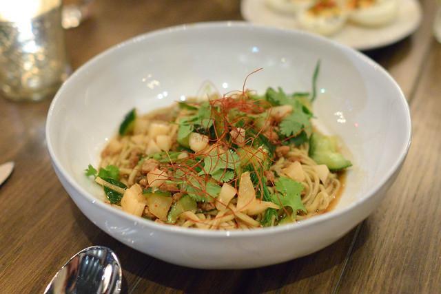 organic egg noodles berkshire pork and miso bolognese, daikon radish, ginger