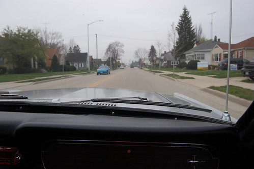 View of the road from passenger seat