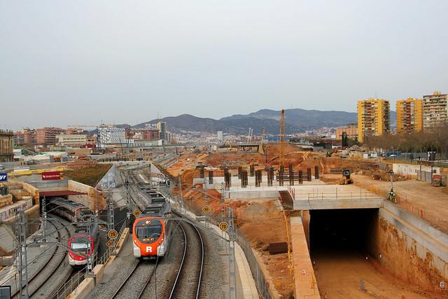 Vista de la obras desde el puente Calatrava