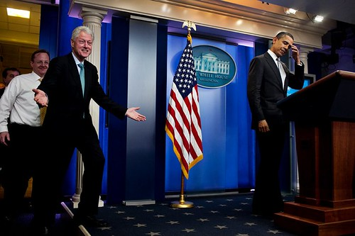 Barack Obama looks *really* pleased to see Bill Clinton at the Whitehouse