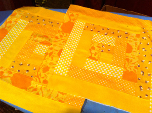 quilted blocks ready to stitch into a bag