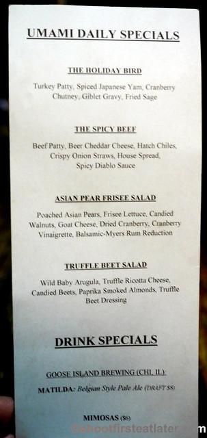 Umami Burger-daily specials menu
