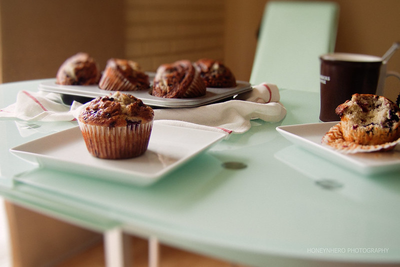 a gloomy Saturday morning, with tri-berry muffins