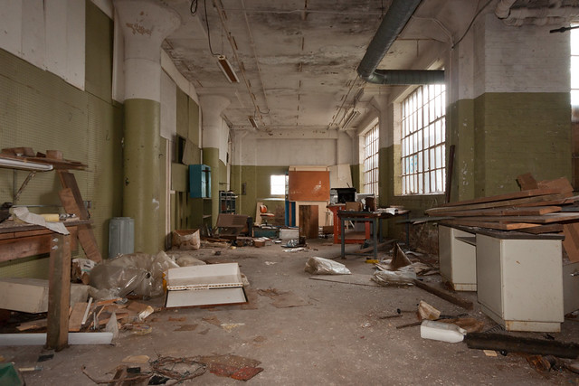 Messy factory floor Abandoned BarberColman factory in