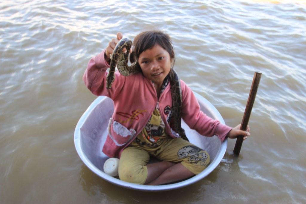 Snake Girl, Tonle Sap Lake - Siem Reap, Cambodia